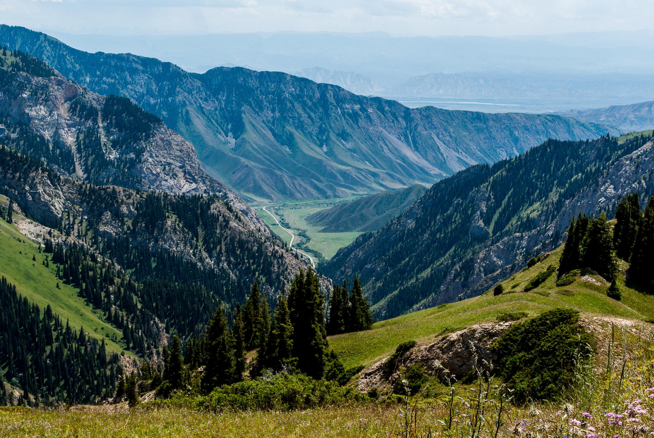 Вид с перевала на ущелье